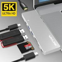 Wavlink USB-C Hub Thunderbolt 3 Type C Adapter for Macbook Pro 2016/2017/2018/2019 13&15, Best dock- 5K@60Hz 40GbS TB3, Pass-Through Charging, USB-C data port, 2 USB 3.0, SD / Micro SD Card Readers