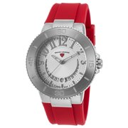 11315Sm-02-Rds Riviera Red Silicone Silver-Tone Dial Stainless Steel Watch