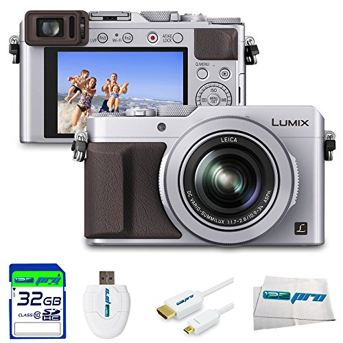 Panasonic Lumix LX100 12.8 MP Point and Shoot Camera Integrated Leica DC Lens (Silver) + 32GB Expo-Essential... by I3ePro