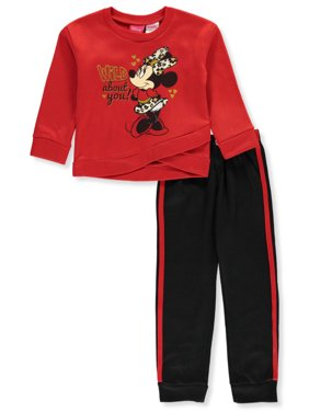 Disney Minnie Mouse Girls' Wild about You 2-Piece Sweatsuit Pants Set