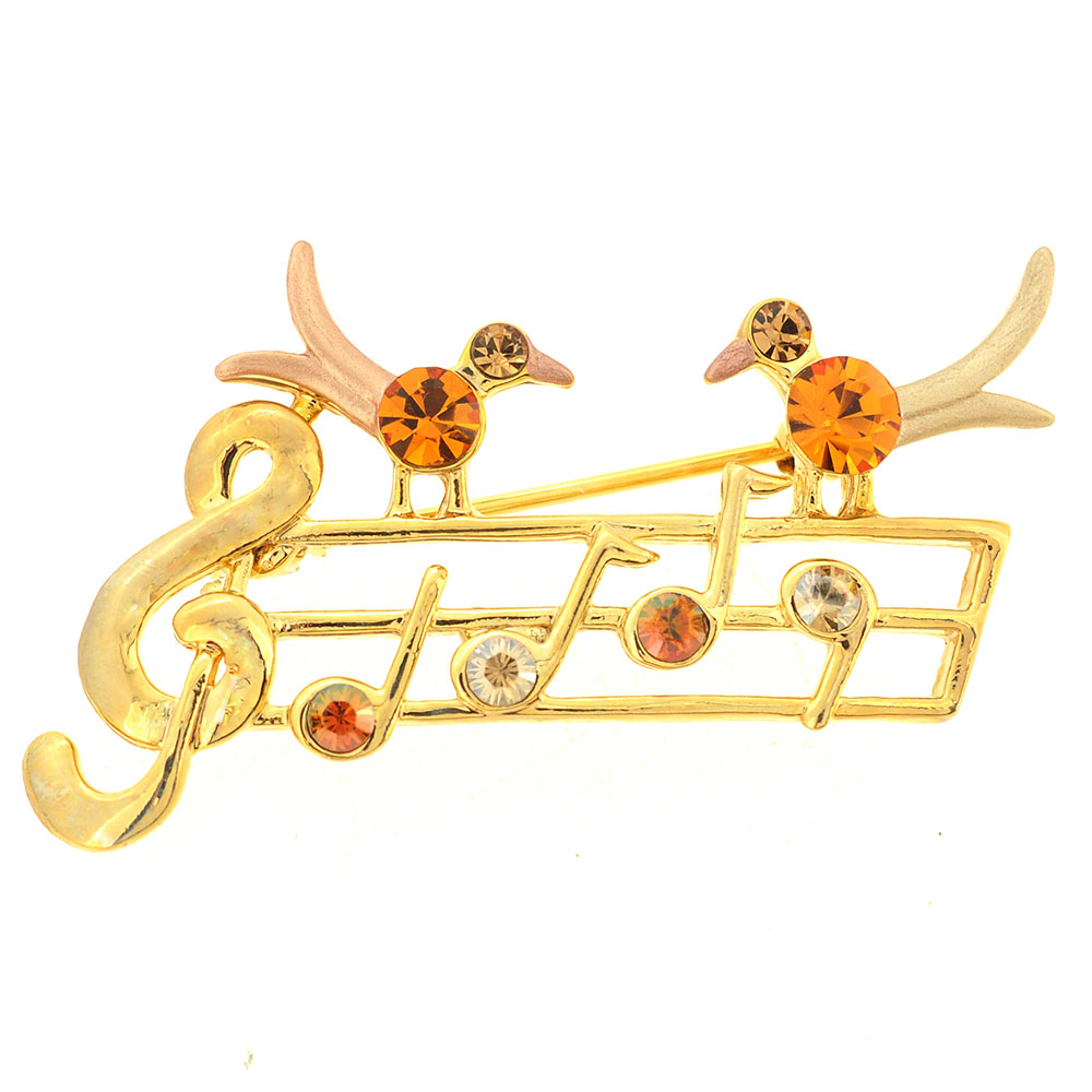 Golden Topaz Brown Music Note With Two Birds Swarovski Crystal Pin Brooch by