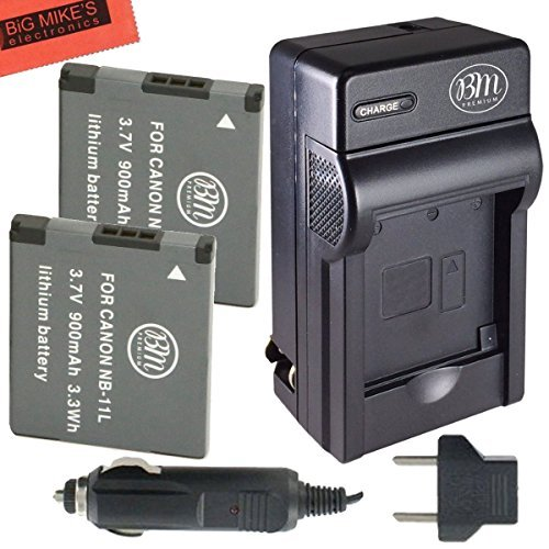 BM Premium 2 Pack NB-11L, NB-11LH Batteries and Battery Charger for Canon PowerShot Digital Cameras