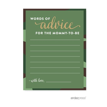 Advice Cards Green Woodland Camouflage Boy Baby Shower Game, - Woodland Baby Shower Decorations