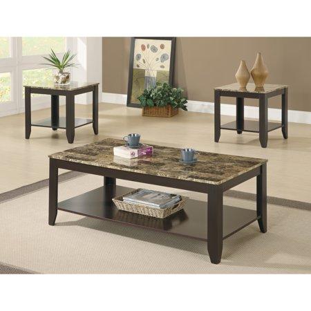 Coaster 3-Piece Table Set, Walnut Finish