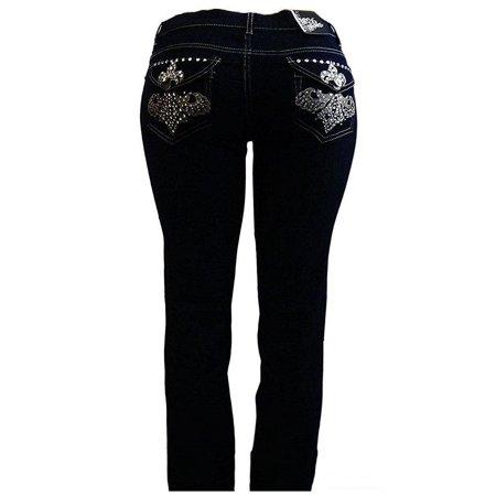 d158567902a jack david - jack david Fleur-de-lis Stretchy BLACK denim jeans MID-RISD WOMENS  PLUS SIZE pants SKINNY PJ-3687 - Walmart.com