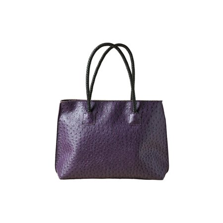 Women's Vegan Handbag - Ostrich Look Embossed Tote with Zip Close