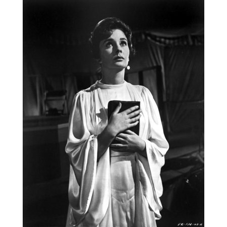 Jean Simmons Posed in White Butterfly Sleeve Silk Dress with Hands Together Holding a Black Book Photo Print - Silk Butterflies