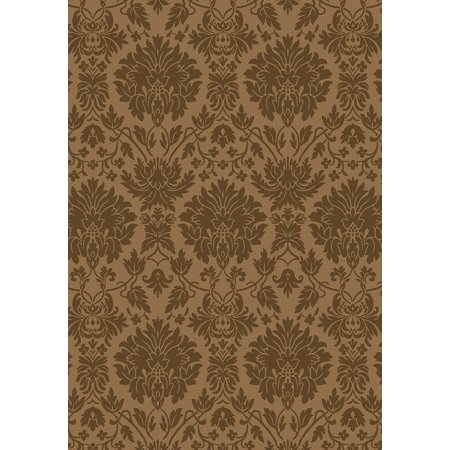 Milliken Top 30 Area Rugs - Transitional Casual Bombay Brown Damask Floral All-Over -