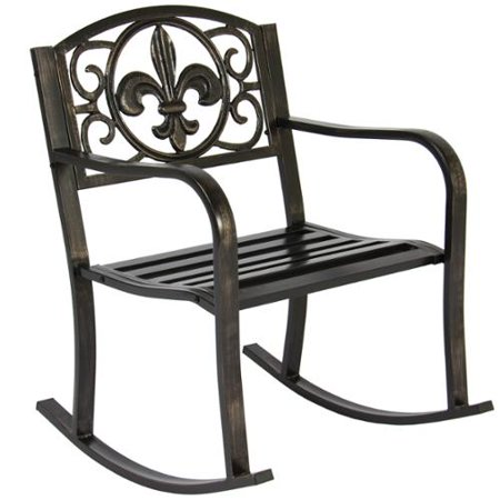 Patio Metal Rocking Chair Porch Seat Deck Outdoor Backyard Glider Rocker Wa