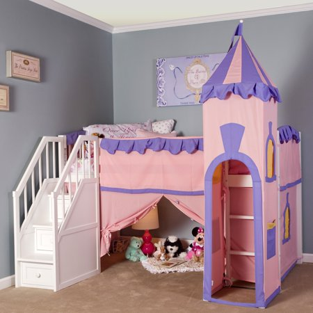Hillsdale School House Princess Loft With Stairs, Cherry