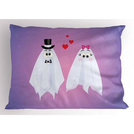 Ghost Pillow Sham, Funny Ghost Couple Wedding of Weird Bride and Groom Characters Love Romance Theme, Decorative Standard Size Printed Pillowcase, 26 X 20 Inches, Multicolor, by Ambesonne - Ghost Characters