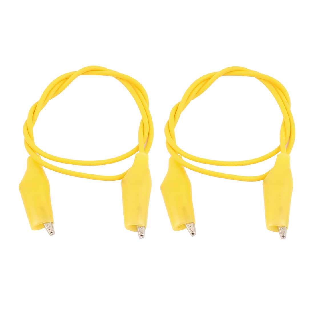 2pcs Yellow Double Ended Test Leads Alligator Clip Clamp Jumper Wire 47cm Long