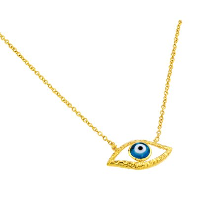 - .925 Sterling Silver Gold Plated Blue Evil Eye Iris Pendant Necklace 18 Inches