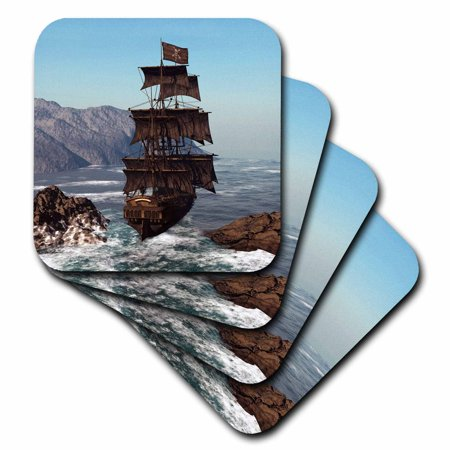 3dRose Pirate Ship sails trough coastal in strong winds, Soft Coasters, set of (Coastal Coasters)