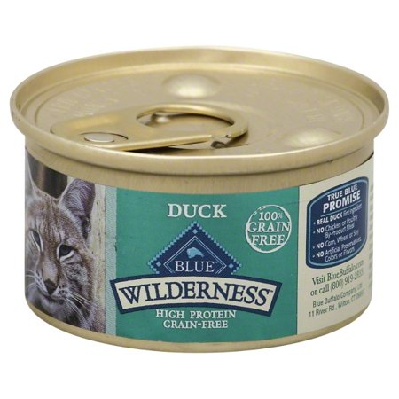 (24 pack) Blue Buffalo Wilderness High Protein Grain Free, Natural Adult Pate Wet Cat Food, Duck, 3-oz, single can