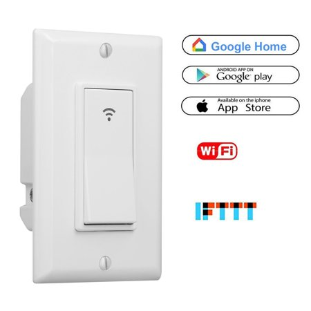 Smart Wall Switch Works with Alexa, WIFI Panel Switch, Wireless Remote  Control by Mobile APP From Anywhere, Timer Function, Supports Google Home,