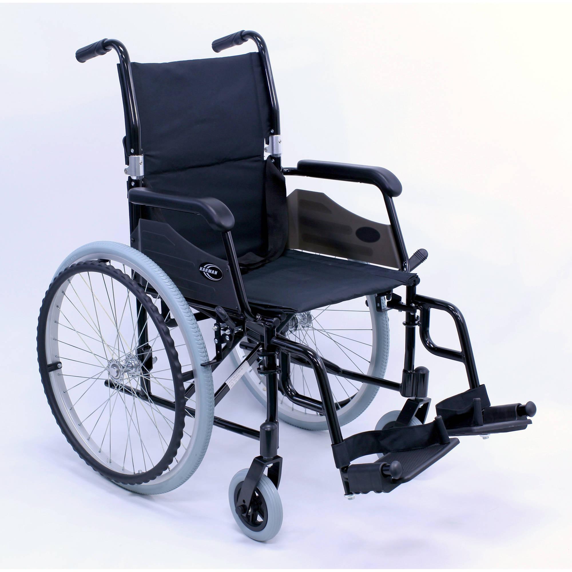 "Karman LT-980 24 pounds Lightweight Wheelchair, 18"" seat, Black"