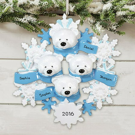 Polar Bear Wreath Family 4 Personalized Christmas Ornament DO-IT-YOURSELF