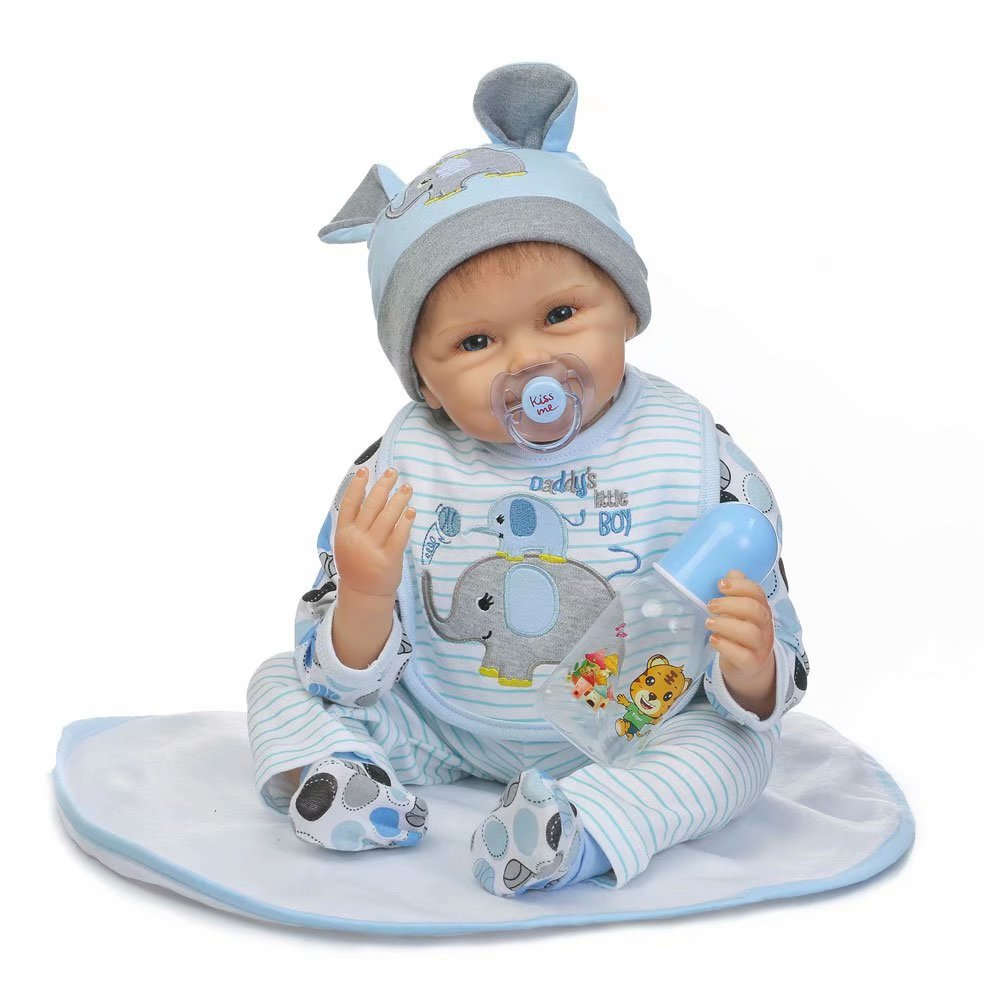 "Noroomaknet Silicone Baby Dolls That Look Real,22"" Reborn Baby Doll with Clothes Blue Elephant"