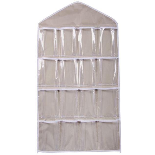 16Pockets Clear Hanging Bag Socks Bra Underwear Rack Hanger Storage Organizer BG
