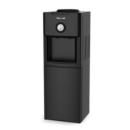 Honeywell HWB1062B 34-Inch Freestanding Hot and Cold Water Dispenser with Stainless Steel Tank to help improve water taste, Back Handle for EASIER HANDLING and Thermostat Control, Black (Thermostat Water Cooler)