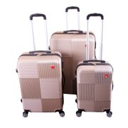 BIGLAND 3 pieces ABS Luggage Set Hard Suitcase Spinner Set Travel Bag Trolley Wheels Coded Lock