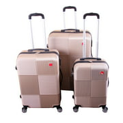 BIGLAND 3 pieces ABS Luggage Set Hard Suitcase Spinner Set Travel Bag Trolley Wheels Coded Lock