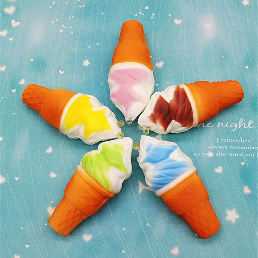 Girl12Queen Jumbo Squishy 10cm Ice Cream Cone Slow Rising Kids Toy Soft Phone Hanging Decor