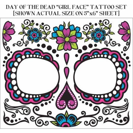 Floral Sugar Skull Dia De Muertos Tattoo For Face Walmartcom