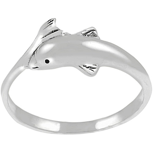 Brinley Co. Dolphin Head and Tail Ring in Sterling Silver
