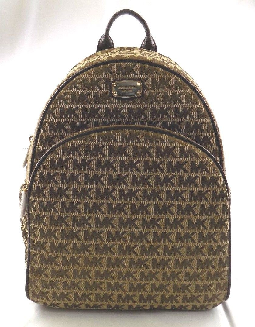01751e7ce46df0 ... switzerland new womens michael kors abbey large signature java brown  backpack book bag bag 371e0 6f459