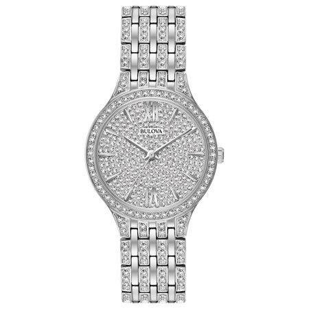 Bulova Women's Silver/Crystals 32mm Stainless Steel Watch 96L243