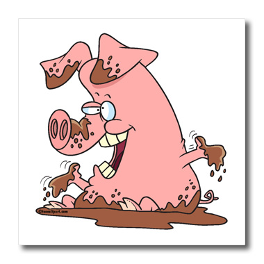 3dRose Cute Happy Pink Pig in Mud - Quilt Square, 6 by 6-inch