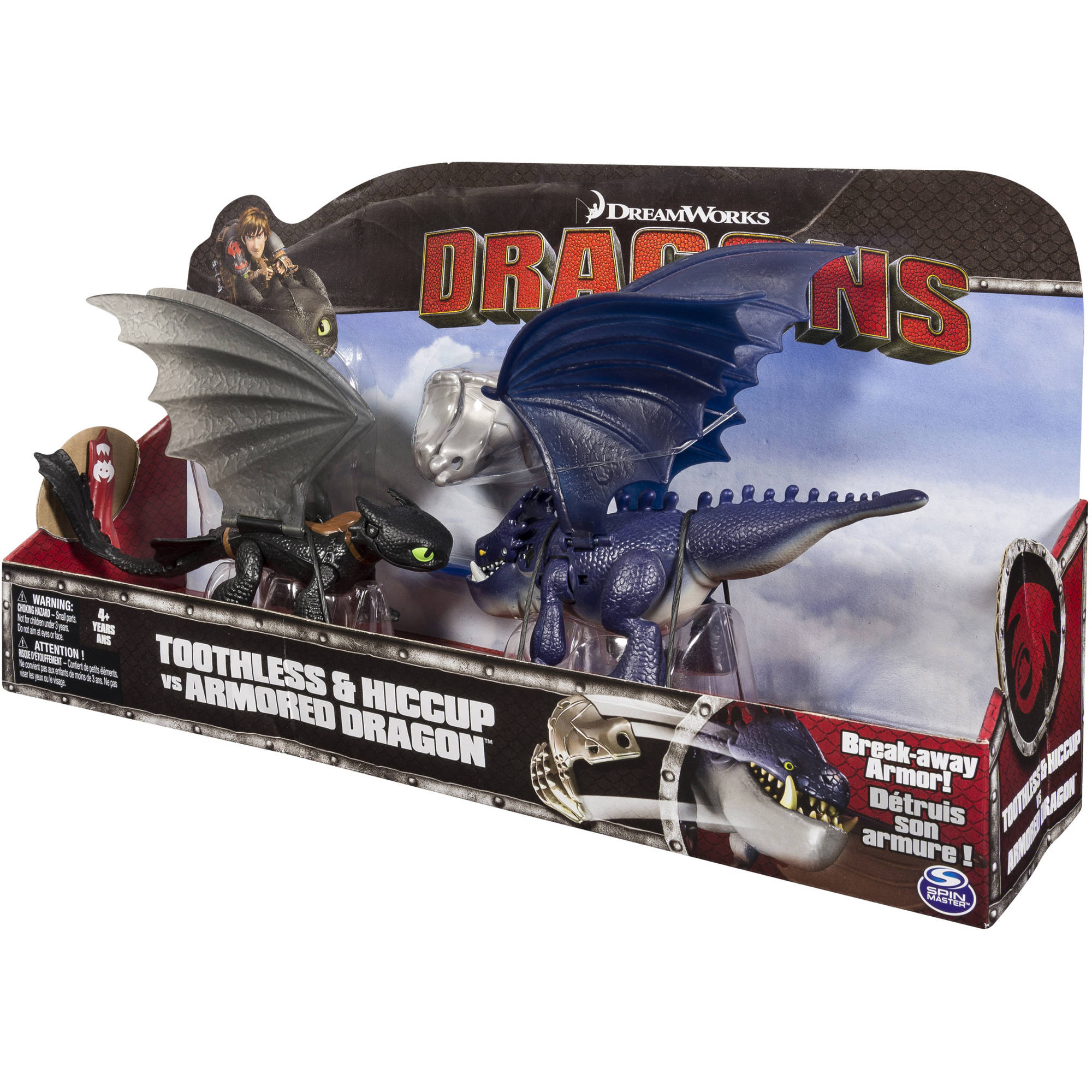 Dreamworks Dragons Toothless And Hiccup Vs Armored Dragon Figures   Walmart