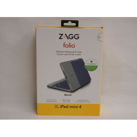 Zagg Folio Wireless Keyboard & Case for iPad Mini 4 - Blue/Gray NEW ()