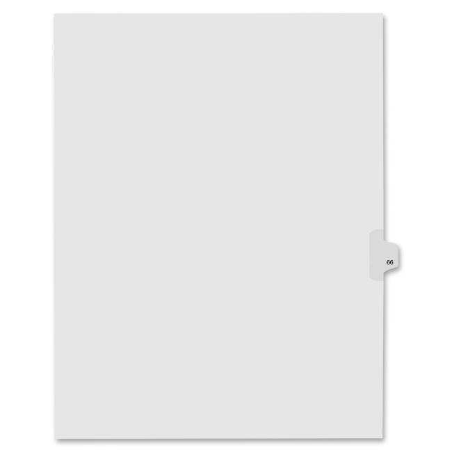 KLEER-FAX, INC. Index Dividers,Number 66,Side Tab,1/25 Cut,Letter,25/PK,WE