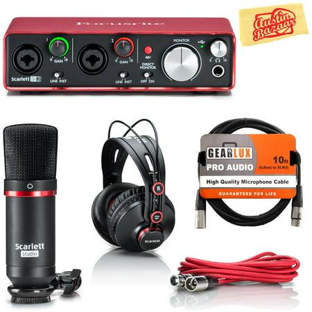 focusrite scarlett 2i2 studio usb audio interface bundle with instrument cable and austin bazaar. Black Bedroom Furniture Sets. Home Design Ideas