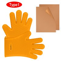 iMountek BBQ Gloves 446℉Heat Resistant BBQ Grill Gloves with Meat Claws BBQ Grill Mats (Type1)