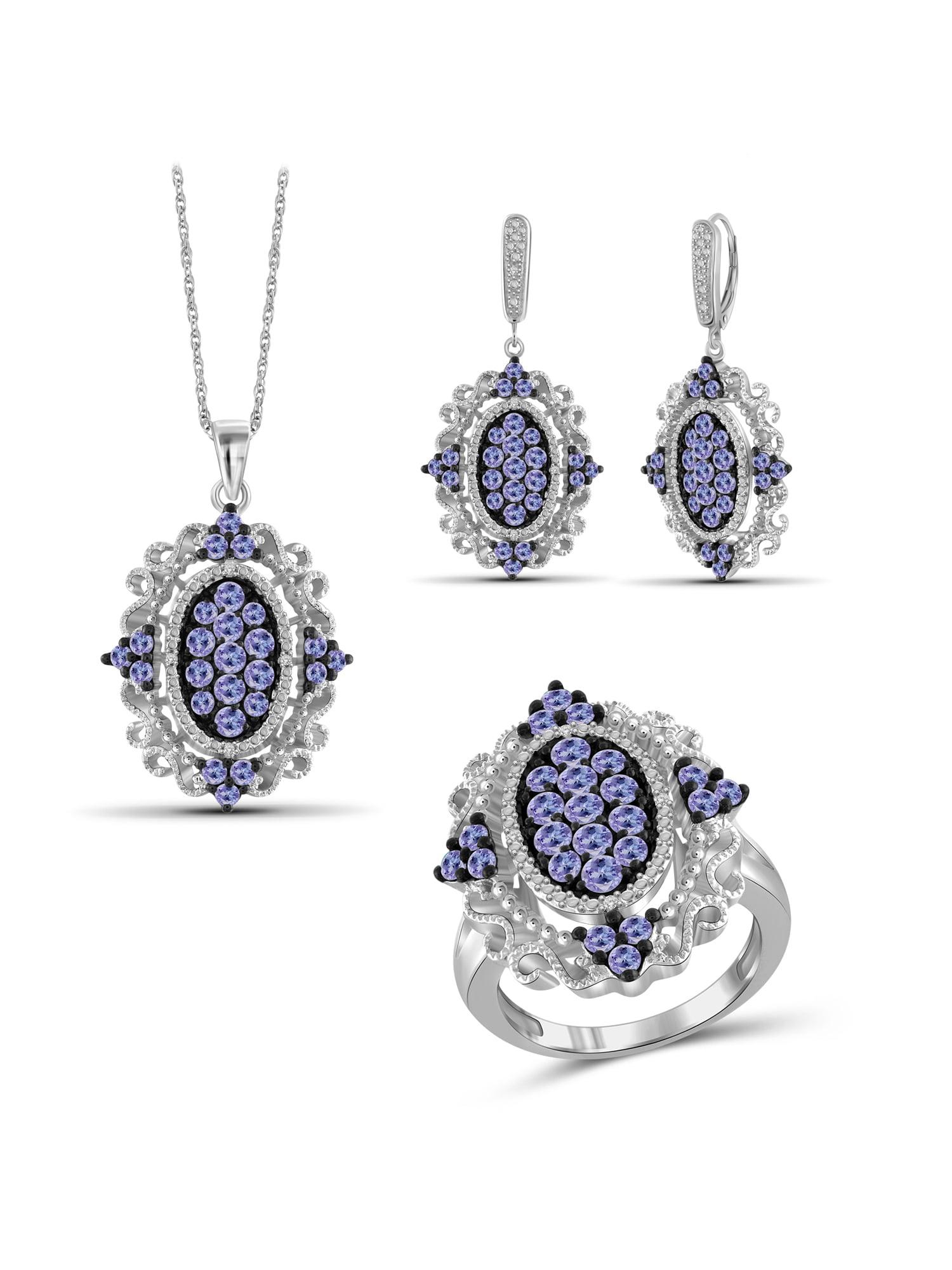 JewelersClub 5.00 Carat T.G.W. Tanzanite And White Diamond Accent Sterling Silver 3-Piece Jewelry set by JewelersClub