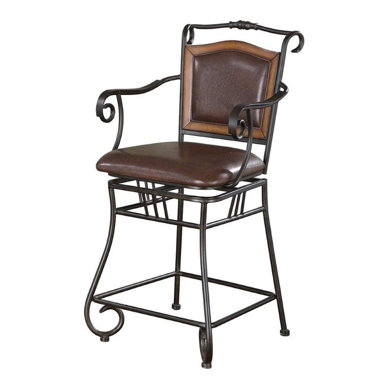 """Coaster 24"""" Swivel Bar Stool, Bronze and Brown Leatherette"""