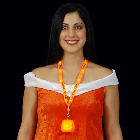 FlashingBlinkyLights Light Up Pumpkin and Happy Halloween Lanyard Necklace - Halloween Lights Happy