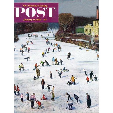 "Fox River Ice-Skating"" Saturday Evening Post Cover, January 11, 1958"" Print Wall Art By John Falter"