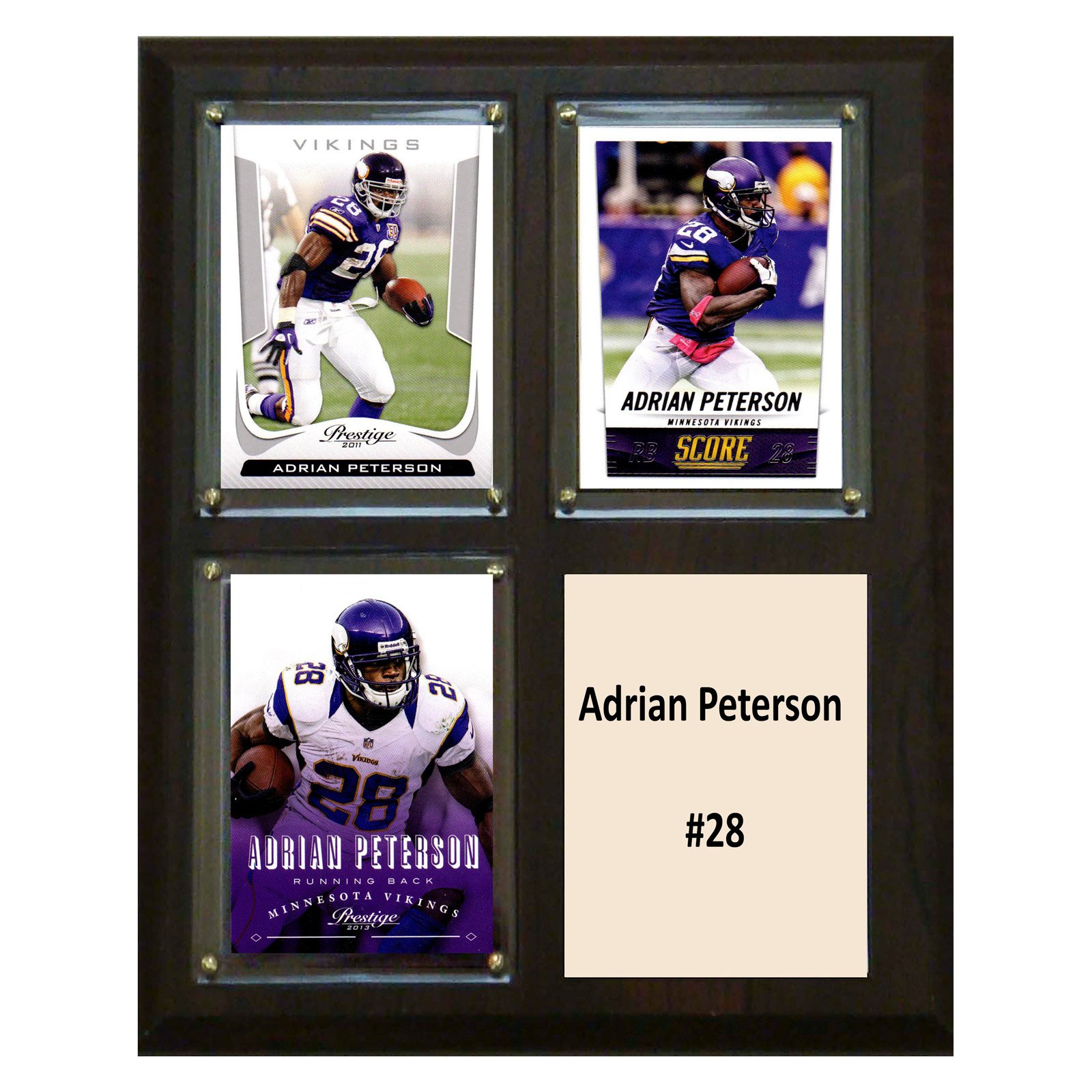C&I Collectables NFL 8x10 Adrian Peterson Minnesota Vikings 3-Card Plaque