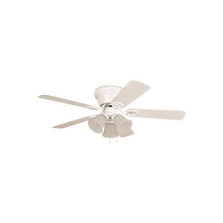 Ellington Wyman 42 In  White Hugger Mount Ceiling Fan With 3 Tulip Light Kit   2479974