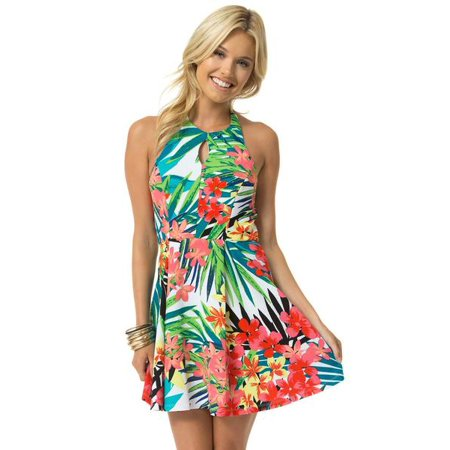 Teeze Me | Sleeveless Halter Top Hibiscus Print Pleated Dress | Off-White/Hibiscus](Xl Teeze)