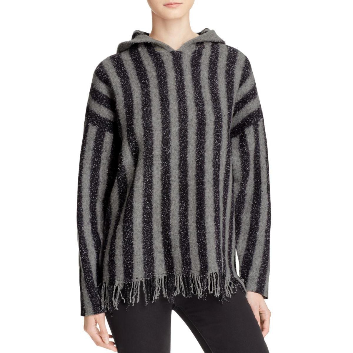 T by Alexander Wang Womens Merino Wool Fringe Hooded Sweater by Womens Wool Coats