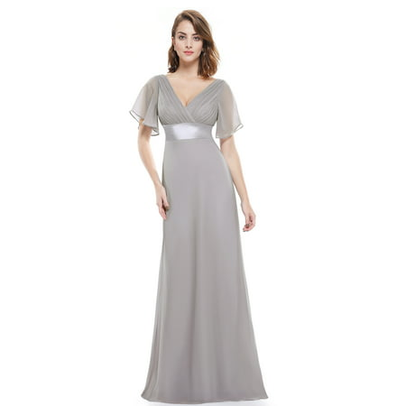 8d43268cff4 Ever-Pretty - Ever-Pretty Womens Flutter Sleeve Pleated Long Evening  Cocktail Gall Party Dresses for Women 98903 Grey US12 - Walmart.com