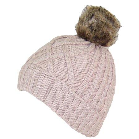 Cuffed Knit Beanie (Angela & William Twist Rib Knit Cuffed Beanie W/Soft Faux Fur Lining & Pom Pom (One Size) - Beige)