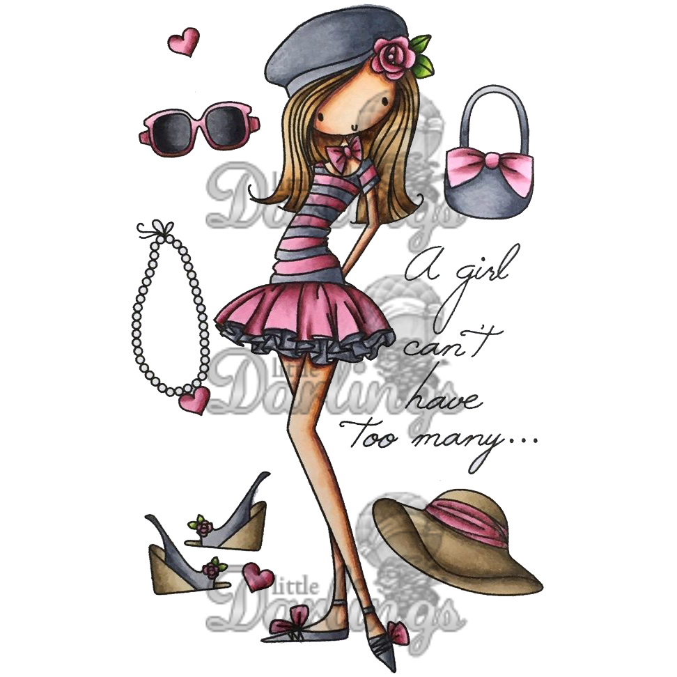 "All Dressed Up Cling Stamp 4""X7""-A Girl Can't Have Too Many"