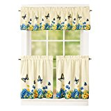 "Vintage Spring Butterfly and Flowers 2 Tier Kitchen Cafe Curtain Set, Rod Pocket Top, Blue, 36""L Tiers"